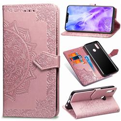 Embossing Imprint Mandala Flower Leather Wallet Case for Huawei Nova 3 - Rose Gold
