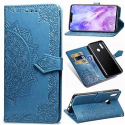 Embossing Imprint Mandala Flower Leather Wallet Case for Huawei Nova 3 - Blue