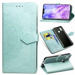 Embossing Imprint Mandala Flower Leather Wallet Case for Huawei Nova 3 - Green