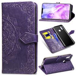 Embossing Imprint Mandala Flower Leather Wallet Case for Huawei Nova 3 - Purple