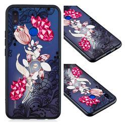 Tulip Lace Diamond Flower Soft TPU Back Cover for Huawei Nova 3i