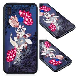 Tulip Lace Diamond Flower Soft TPU Back Cover for Huawei P Smart+ (Nova 3i)