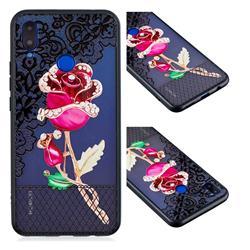 Rose Lace Diamond Flower Soft TPU Back Cover for Huawei Nova 3i