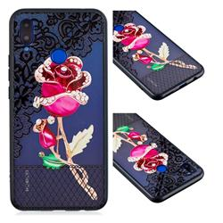 Rose Lace Diamond Flower Soft TPU Back Cover for Huawei P Smart+ (Nova 3i)