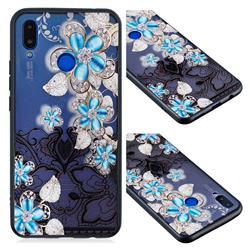 Lilac Lace Diamond Flower Soft TPU Back Cover for Huawei Nova 3i