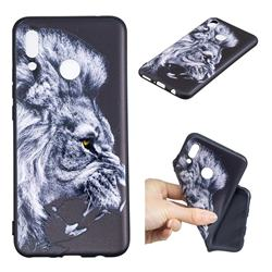 Lion 3D Embossed Relief Black TPU Cell Phone Back Cover for Huawei P Smart+ (Nova 3i)