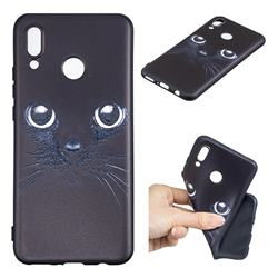 Bearded Feline 3D Embossed Relief Black TPU Cell Phone Back Cover for Huawei P Smart+ (Nova 3i)
