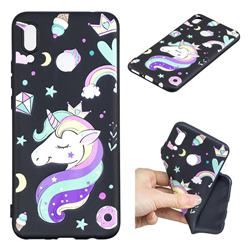 Candy Unicorn 3D Embossed Relief Black TPU Cell Phone Back Cover for Huawei P Smart+ (Nova 3i)