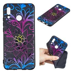 Colorful Lace 3D Embossed Relief Black TPU Cell Phone Back Cover for Huawei P Smart+ (Nova 3i)