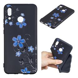 Little Blue Flowers 3D Embossed Relief Black TPU Cell Phone Back Cover for Huawei P Smart+ (Nova 3i)