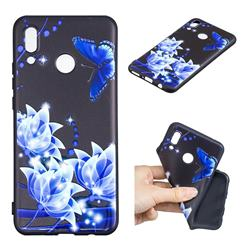 Blue Butterfly 3D Embossed Relief Black TPU Cell Phone Back Cover for Huawei P Smart+ (Nova 3i)