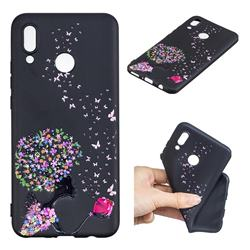 Corolla Girl 3D Embossed Relief Black TPU Cell Phone Back Cover for Huawei P Smart+ (Nova 3i)