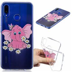 Tiny Pink Elephant Clear Varnish Soft Phone Back Cover for Huawei P Smart+ (Nova 3i)