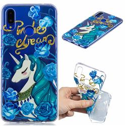 Blue Flower Unicorn Clear Varnish Soft Phone Back Cover for Huawei P Smart+ (Nova 3i)