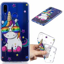 Glasses Unicorn Clear Varnish Soft Phone Back Cover for Huawei P Smart+ (Nova 3i)