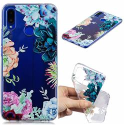Gem Flower Clear Varnish Soft Phone Back Cover for Huawei P Smart+ (Nova 3i)