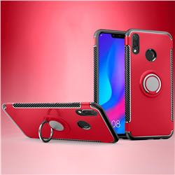 Armor Anti Drop Carbon PC + Silicon Invisible Ring Holder Phone Case for Huawei Nova 3i - Red