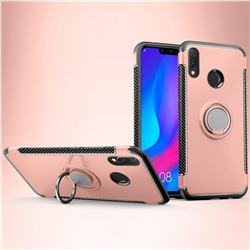 Armor Anti Drop Carbon PC + Silicon Invisible Ring Holder Phone Case for Huawei Nova 3i - Rose Gold