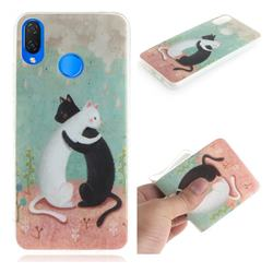 Black and White Cat IMD Soft TPU Cell Phone Back Cover for Huawei P Smart+ (Nova 3i)