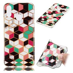 Three-dimensional Square Soft TPU Marble Pattern Phone Case for Huawei P Smart+ (Nova 3i)