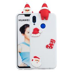White Santa Claus Christmas Xmax Soft 3D Silicone Case for Huawei P Smart+ (Nova 3i)