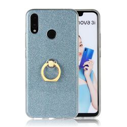 Luxury Soft TPU Glitter Back Ring Cover with 360 Rotate Finger Holder Buckle for Huawei Nova 3i - Blue