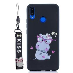 Black Flower Hippo Soft Kiss Candy Hand Strap Silicone Case for Huawei Nova 3i