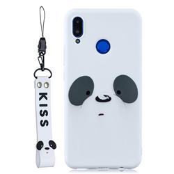 White Feather Panda Soft Kiss Candy Hand Strap Silicone Case for Huawei Nova 3i