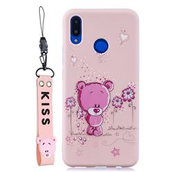 Pink Flower Bear Soft Kiss Candy Hand Strap Silicone Case for Huawei Nova 3i