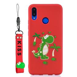 Red Dinosaur Soft Kiss Candy Hand Strap Silicone Case for Huawei Nova 3i