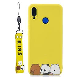 Yellow Bear Family Soft Kiss Candy Hand Strap Silicone Case for Huawei Nova 3i