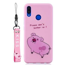 Pink Cute Pig Soft Kiss Candy Hand Strap Silicone Case for Huawei Nova 3i