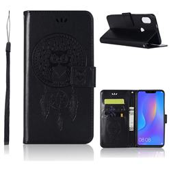 Intricate Embossing Owl Campanula Leather Wallet Case for Huawei Nova 3i - Black