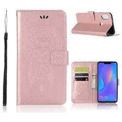 Intricate Embossing Owl Campanula Leather Wallet Case for Huawei Nova 3i - Rose Gold