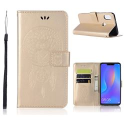 Intricate Embossing Owl Campanula Leather Wallet Case for Huawei Nova 3i - Champagne