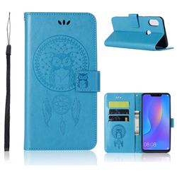 Intricate Embossing Owl Campanula Leather Wallet Case for Huawei Nova 3i - Blue