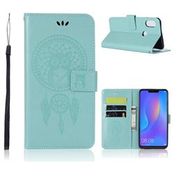 Intricate Embossing Owl Campanula Leather Wallet Case for Huawei Nova 3i - Green