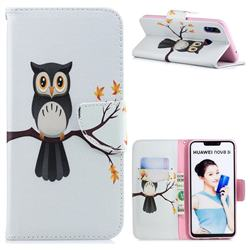 Owl on Tree Leather Wallet Case for Huawei P Smart+ (Nova 3i)