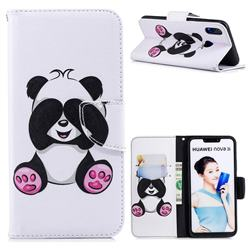 Lovely Panda Leather Wallet Case for Huawei Nova 3i