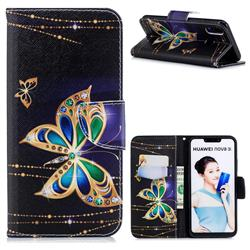 Golden Shining Butterfly Leather Wallet Case for Huawei P Smart+ (Nova 3i)