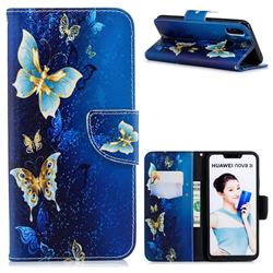 Golden Butterflies Leather Wallet Case for Huawei P Smart+ (Nova 3i)