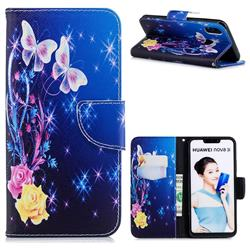 Yellow Flower Butterfly Leather Wallet Case for Huawei Nova 3i