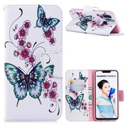 Peach Butterflies Leather Wallet Case for Huawei Nova 3i