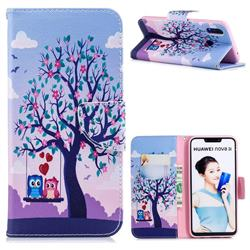 Tree and Owls Leather Wallet Case for Huawei P Smart+ (Nova 3i)