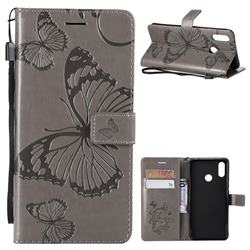 Embossing 3D Butterfly Leather Wallet Case for Huawei P Smart+ (Nova 3i) - Gray