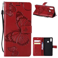 Embossing 3D Butterfly Leather Wallet Case for Huawei P Smart+ (Nova 3i) - Red