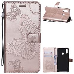 Embossing 3D Butterfly Leather Wallet Case for Huawei P Smart+ (Nova 3i) - Rose Gold