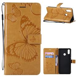 Embossing 3D Butterfly Leather Wallet Case for Huawei P Smart+ (Nova 3i) - Yellow