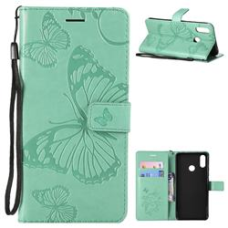 Embossing 3D Butterfly Leather Wallet Case for Huawei P Smart+ (Nova 3i) - Green