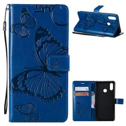 Embossing 3D Butterfly Leather Wallet Case for Huawei P Smart+ (Nova 3i) - Blue